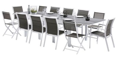 Salon de jardin Modulo Stone Blanc/gris Table 8/12 pl 8 fauteuils 4 ...