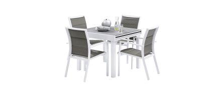 Salon de jardin Modulo Stone Blanc/gris perle Table 4/8 places 4 fauteuils