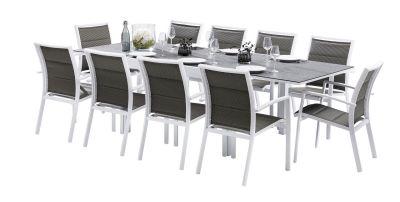 Salon de jardin Modulo Stone Blanc/gris perle Table 6/10 pl 10 ...