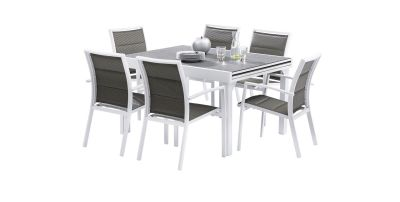 Salon de jardin Modulo Stone Blanc/gris perle Table 6/10 places 6 fauteuils - Wilsa Garden