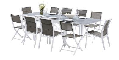 Salon de jardin Modulo blanc/gris Table 6/10 places 6 fauteuils 4 ...