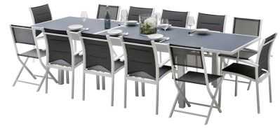 Salon de jardin Modulo blanc/gris Table 8/12 places 8 fauteuils 4 ...