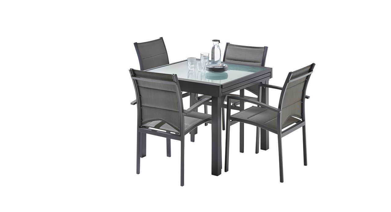 salon de jardin modulo gris anthracite table 4 8 places 4 fauteuils. Black Bedroom Furniture Sets. Home Design Ideas