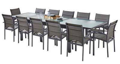 Salon de jardin Modulo gris anthracite Table 8/12 places+12 fauteuils