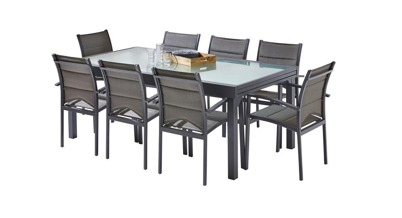 salon de jardin modulo gris anthracite table 8 12 places 8 fauteuils. Black Bedroom Furniture Sets. Home Design Ideas