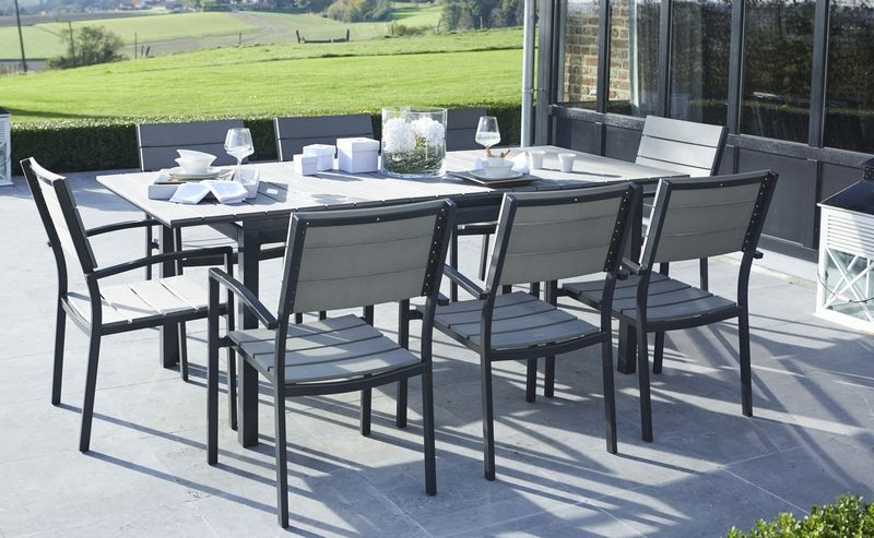 Salon de jardin polywood gris 8 places wilsa garden for Salon de jardin 12 personnes