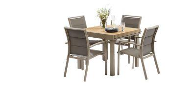 Salon de jardin Polywood taupe Table 4/8 places 4 fauteuils ...