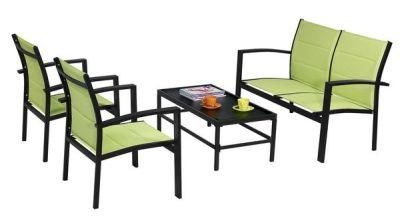 Salon de jardin Sofa noir/vert anis 4 places