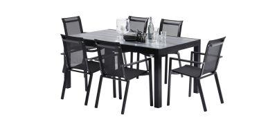 Salon de jardin Star HPL noir Table 6/10 places 6 fauteuils