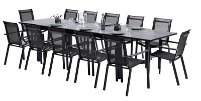 Salon de jardin Star HPL noir Table 8/12 places 12 fauteuils
