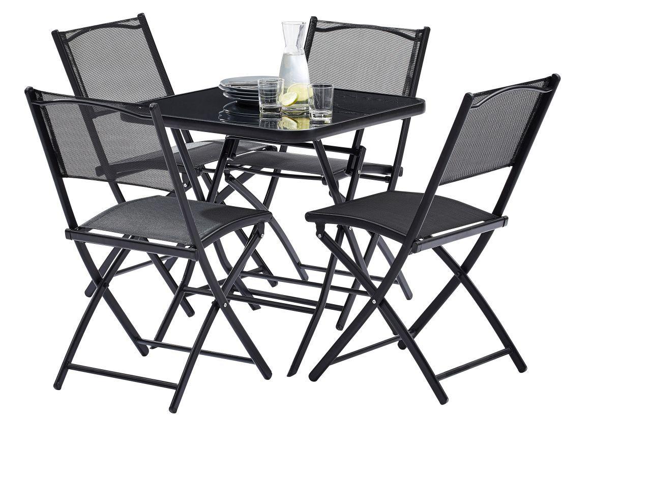 salon de jardin terrasse noir table 4 places 4 chaises wilsa garden. Black Bedroom Furniture Sets. Home Design Ideas