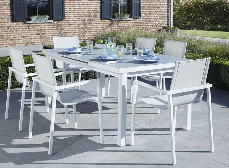salon de jardin whitestar blanc 6 places wilsa garden. Black Bedroom Furniture Sets. Home Design Ideas