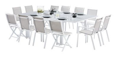 Salon de jardin Whitestar blanc/gris perle Table 8/12 pls+ 8 fts + 4 chs
