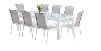 Salon de jardin Whitesun blanc/gris Table 8 places 8 fauteuils