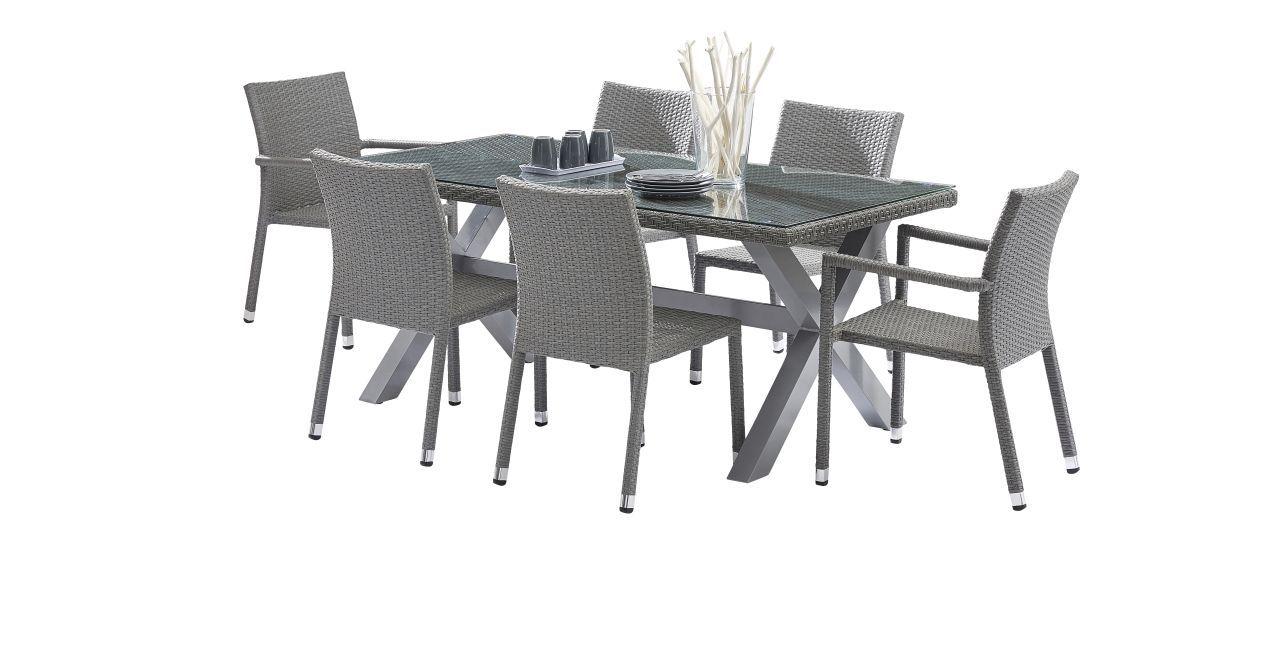Salon de jardin Wicker gris Table 6/8 places 2 fauteuils 4 chaises ...