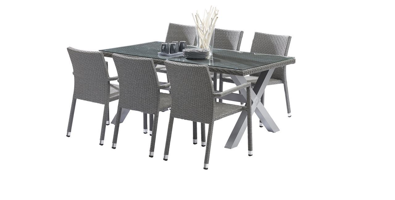 Salon de jardin wicker gris table 6 8 places 6 fauteuils for Table 6 places