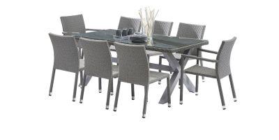 Salon de jardin Wicker tressé gris Table 6/8 places 2 fauteuils 6 ...