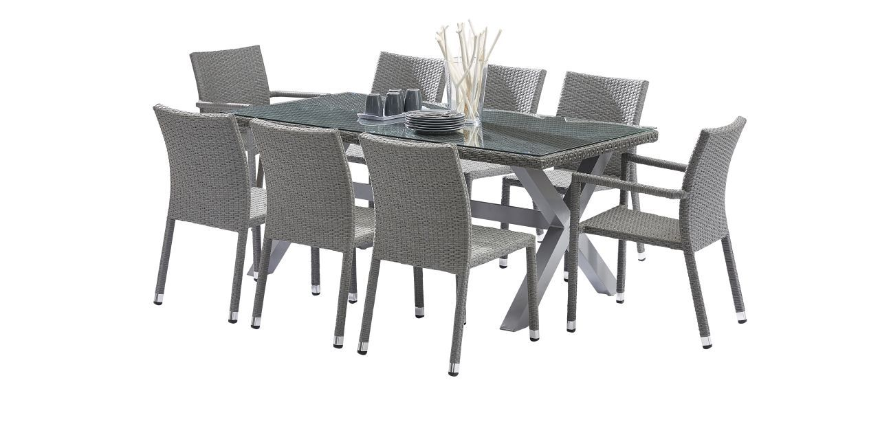 Salon de jardin wicker tress gris table 6 8 places 2 for Table 6 places
