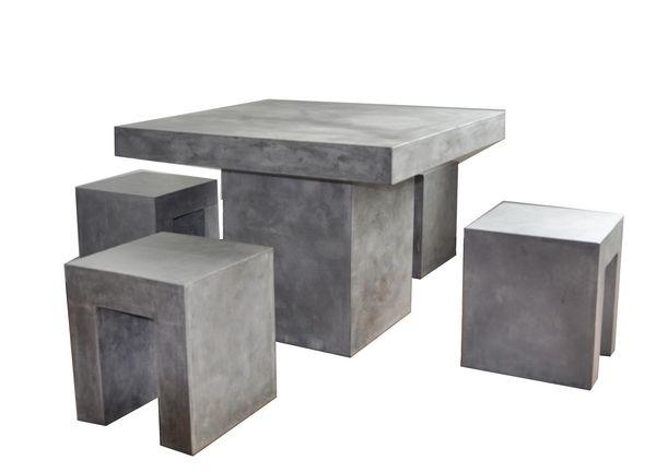 salon de jardin aspect b ton cir 4 places meubles de jardin. Black Bedroom Furniture Sets. Home Design Ideas