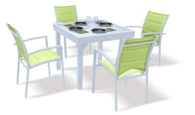 Salon de jardin avec rallonge Modulo blanc/anis 4 personnes