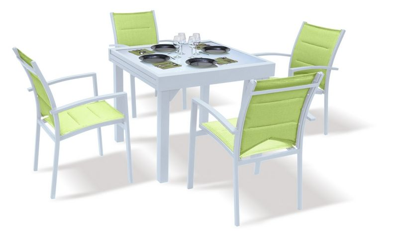 salon de jardin avec rallonge modulo blanc anis 4 personnes. Black Bedroom Furniture Sets. Home Design Ideas