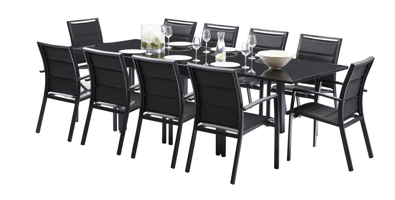 salon de jardin avec rallonge modulo noir 10 personnes. Black Bedroom Furniture Sets. Home Design Ideas