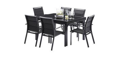 salon de jardin avec rallonge modulo noir 6 personnes. Black Bedroom Furniture Sets. Home Design Ideas