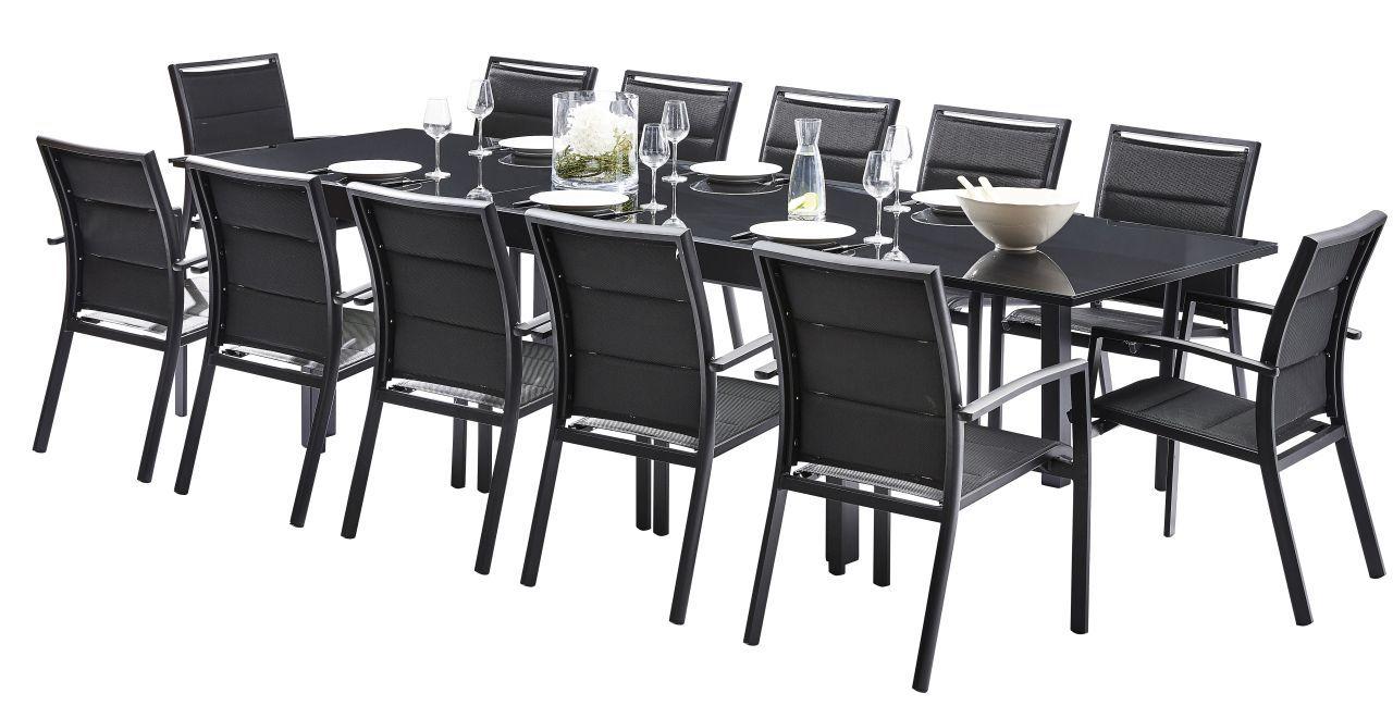 Salon de jardin textilène Modulo noir 12 places fauteuils - Meubles ...