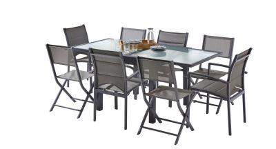 Salon jardin Modulo gris anthracite Table 4/8 places 4 fauteuils+4 chaises