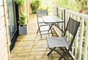 Table de jardin Balcon plateau verre coloris anthracite 2 places - Wilsa Garden