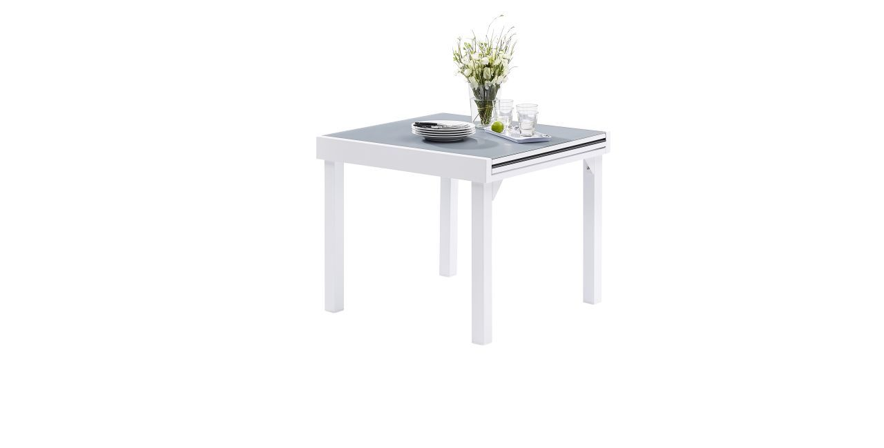 Table de jardin Modulo 4/8 places blanc/gris perle