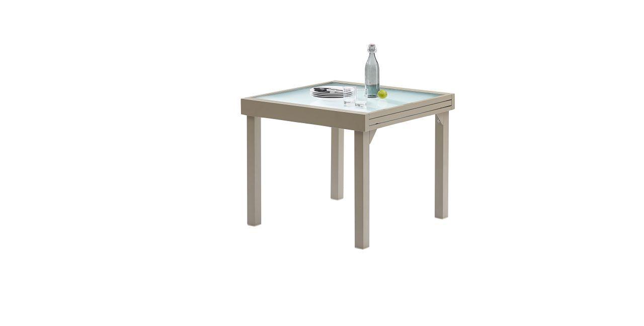Table de jardin modulo 4 8 places taupe wilsa garden for Table jardin 4 personnes