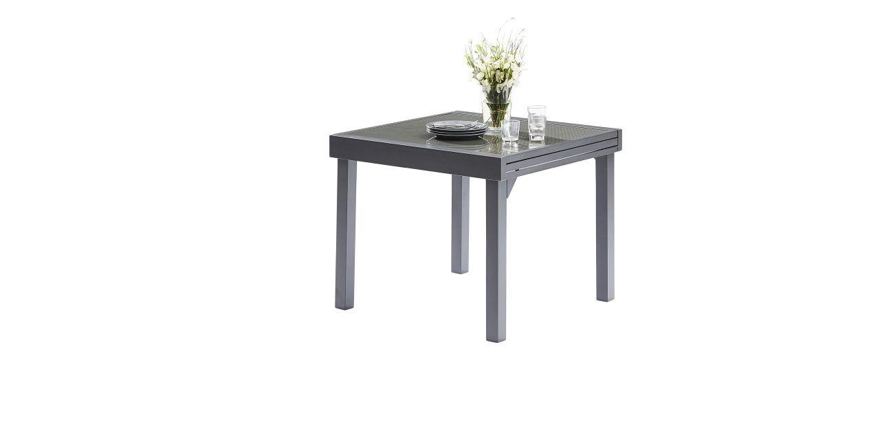 Table de jardin modulotex grise 4 8 places wilsa garden for Table jardin grise