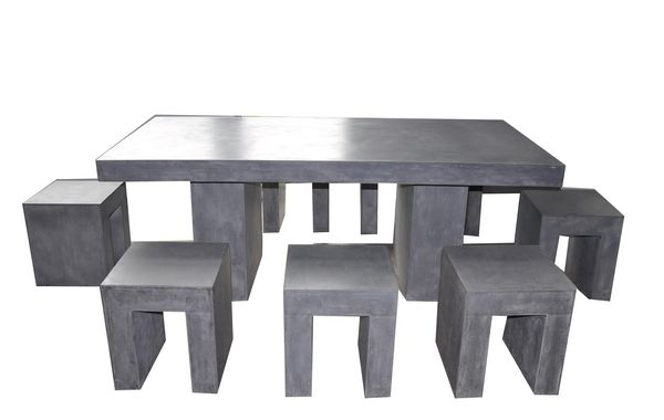 Table de jardin aspect b ton cir 200x95 cm wilsa garden - Table de jardin beton ...