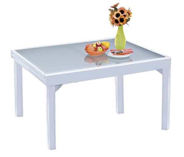 table de jardin avec rallonge modulo blanc 135x270 meubles de jardin. Black Bedroom Furniture Sets. Home Design Ideas
