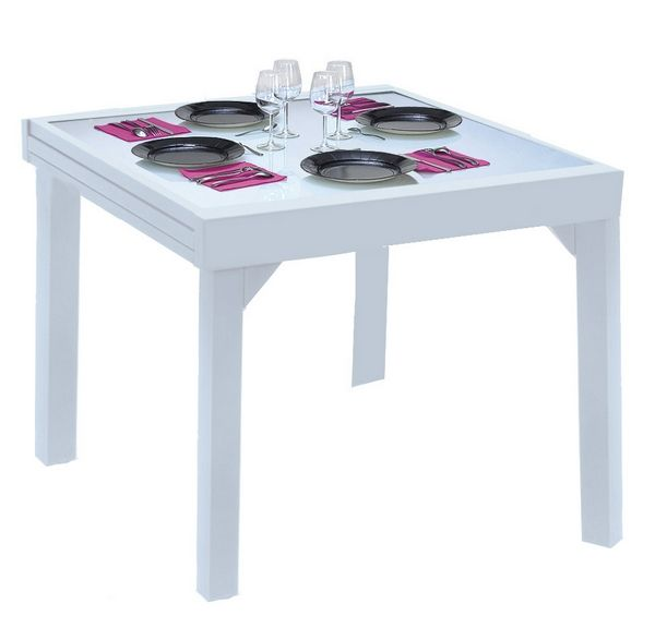 table de jardin avec rallonge modulo blanc 90x180 meubles de jardin. Black Bedroom Furniture Sets. Home Design Ideas