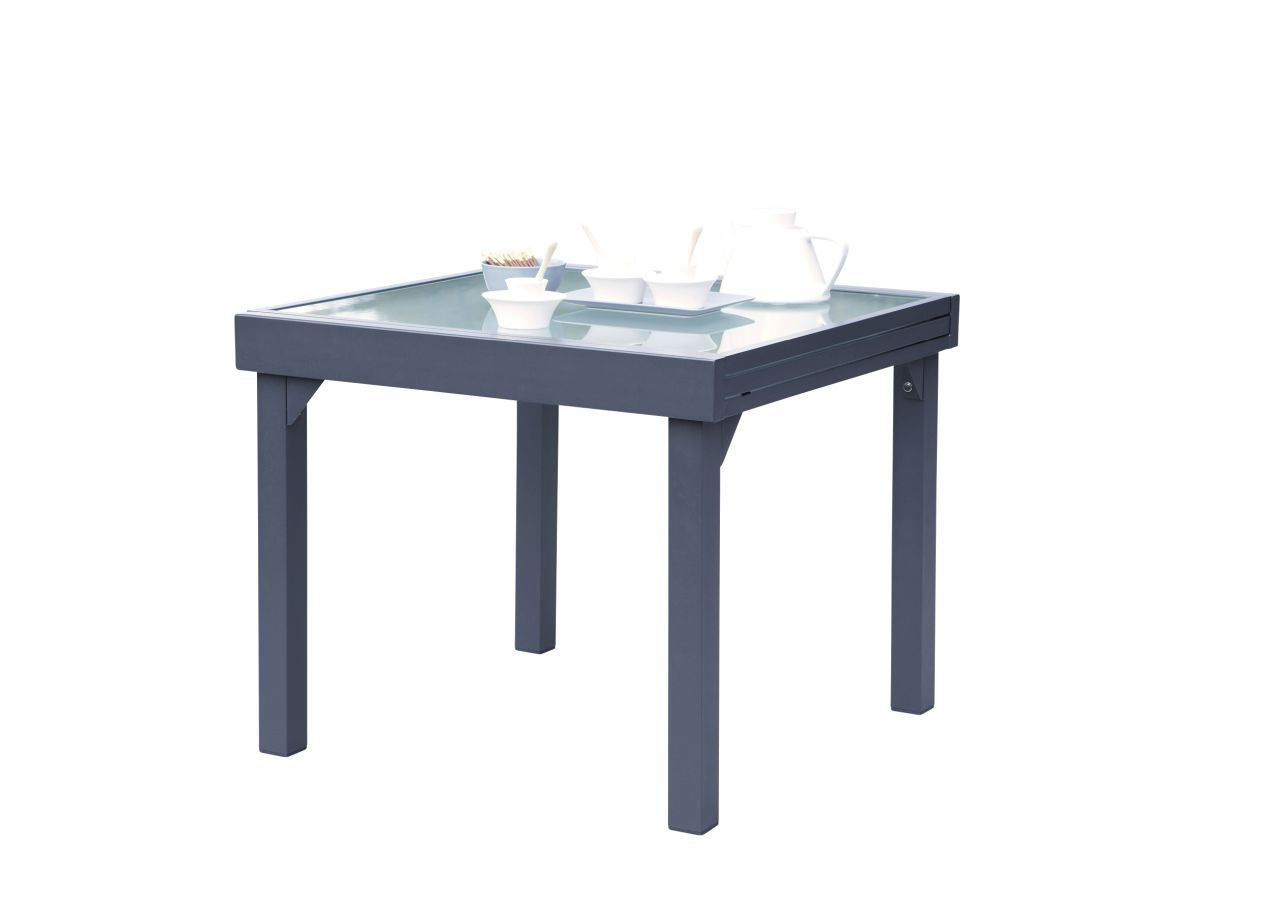 table de jardin avec rallonge modulo gris 90x180 wilsa. Black Bedroom Furniture Sets. Home Design Ideas