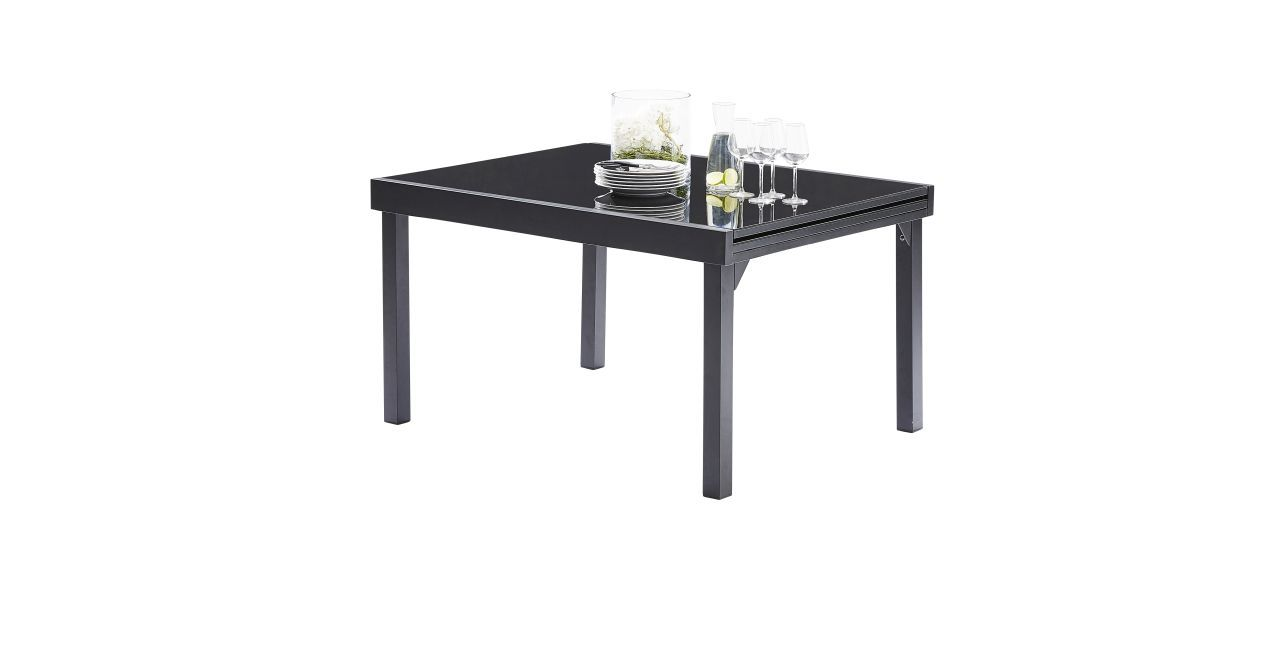 table de jardin avec rallonge modulo noir 135x270 wilsa garden. Black Bedroom Furniture Sets. Home Design Ideas