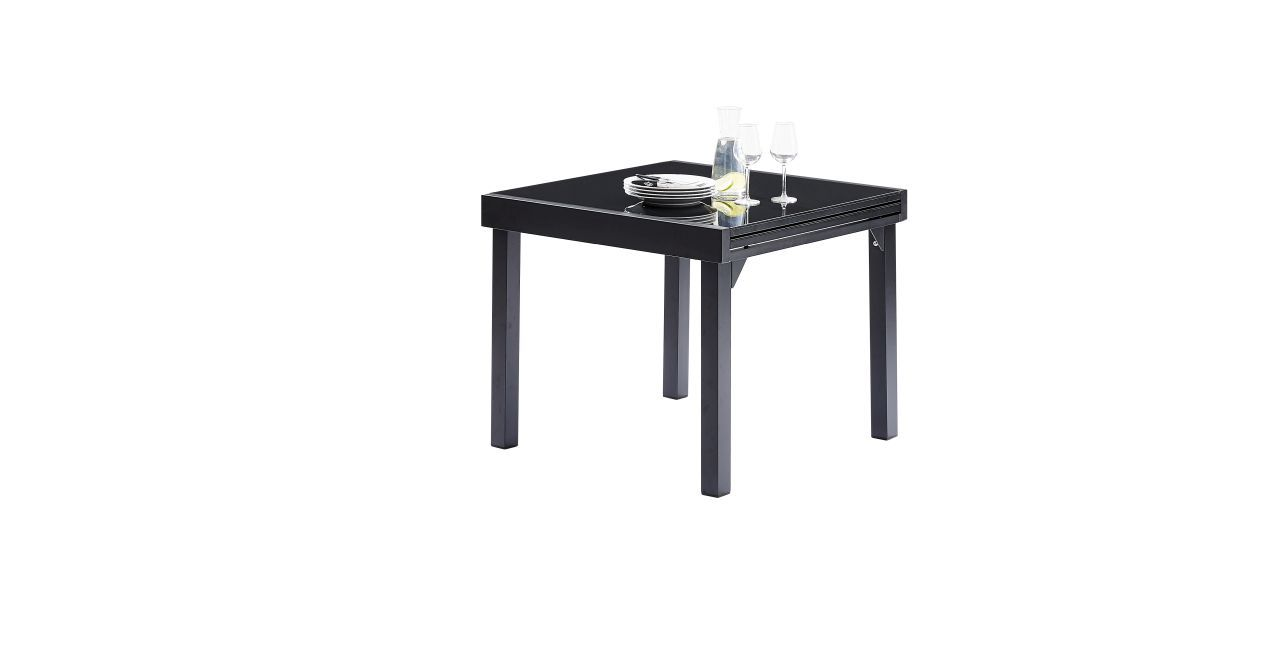table de jardin avec rallonge modulo noir 90x180 wilsa. Black Bedroom Furniture Sets. Home Design Ideas