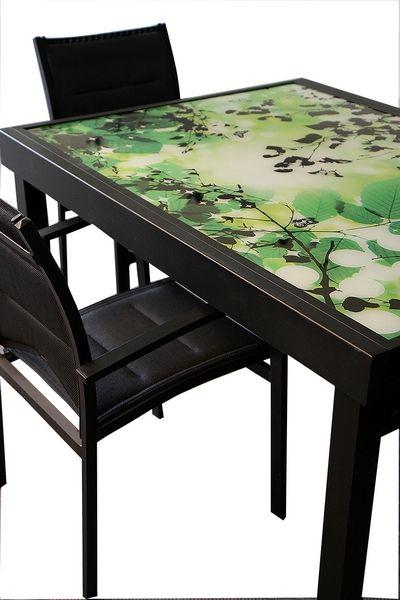 Table de jardin avec rallonge modulo noir imprim 90 180 - Table noire avec rallonge ...