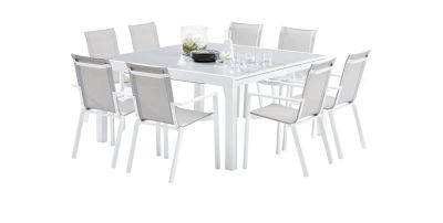 salon de jardin Whitestar blanc/gris clair Table 8/12 places+ 8 ...