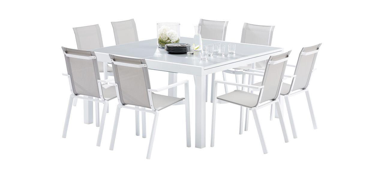 salon de jardin Whitestar blanc/gris clair Table 8/12 places+ 8 ...