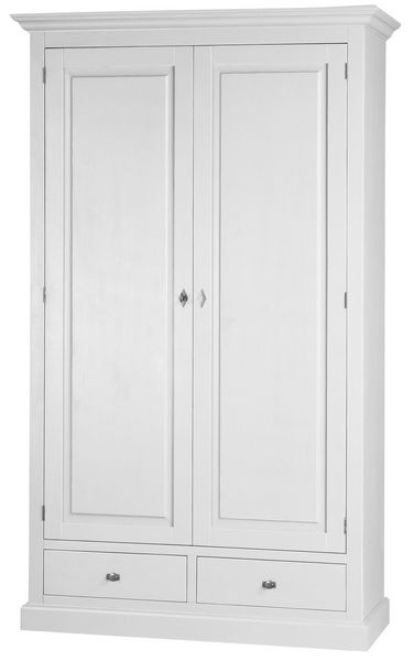 armoire pin monica 2 portes 2 tiroirs blanc mobilier. Black Bedroom Furniture Sets. Home Design Ideas