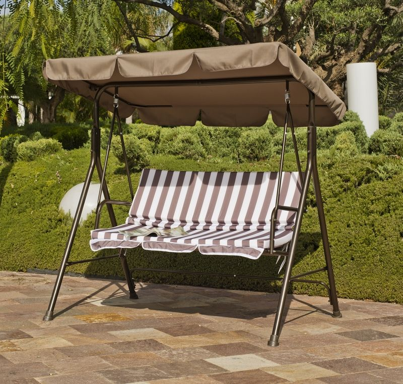 balancelle orlando toile acrylique marron 166x110x154. Black Bedroom Furniture Sets. Home Design Ideas