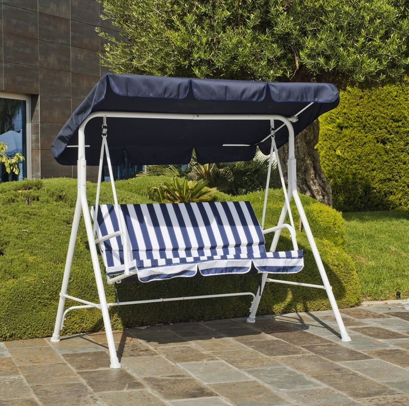 balancelle preston toile acrylique bleu 166x110x154. Black Bedroom Furniture Sets. Home Design Ideas