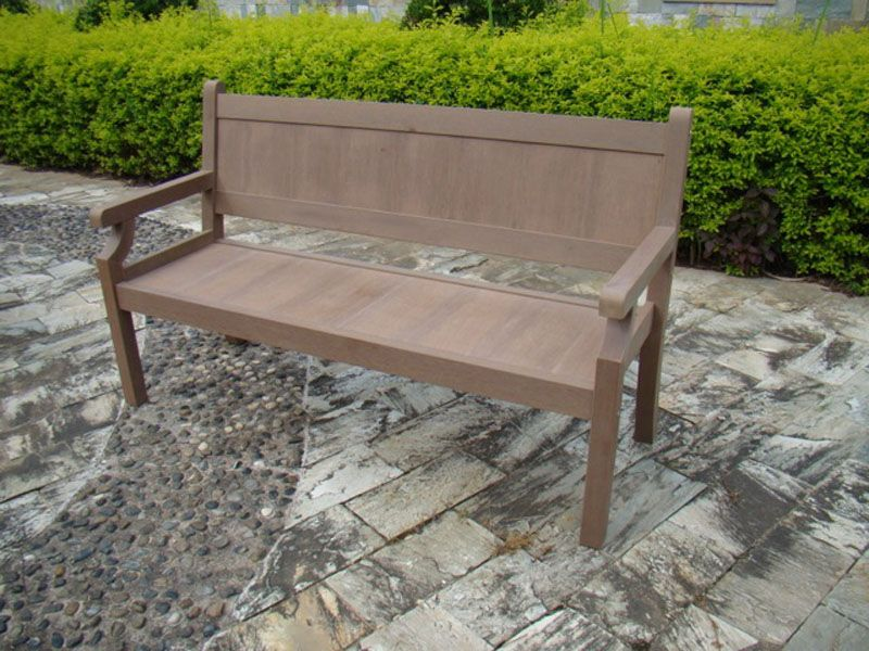 Banc brown cary r sine aspect bois fonc 3 places for Banc de jardin en resine