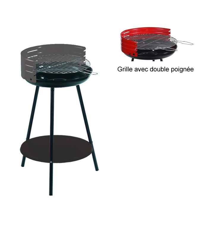 Barbecue charbon rond acier alperk camping c50b gris - Barbecue rond charbon ...