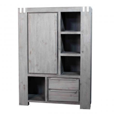 biblioth que acacia massif dalia gris tag res 1 porte. Black Bedroom Furniture Sets. Home Design Ideas
