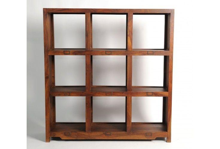 Biblioth que palissandre double face 9 cases mobilier for Meubles 9 cases