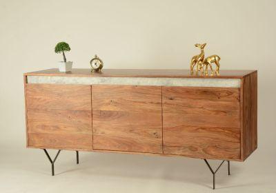 buffet palissandre marbre m tal 3 portes l 160 cm mobilier. Black Bedroom Furniture Sets. Home Design Ideas
